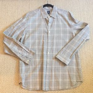 Men's gray and white button down
